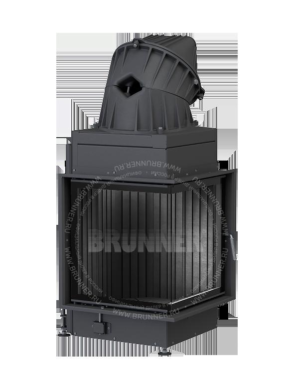 Закрытая угловая каминная топка BRUNNER Eck-Kamin 57/52/52 Black с боковым открыванием