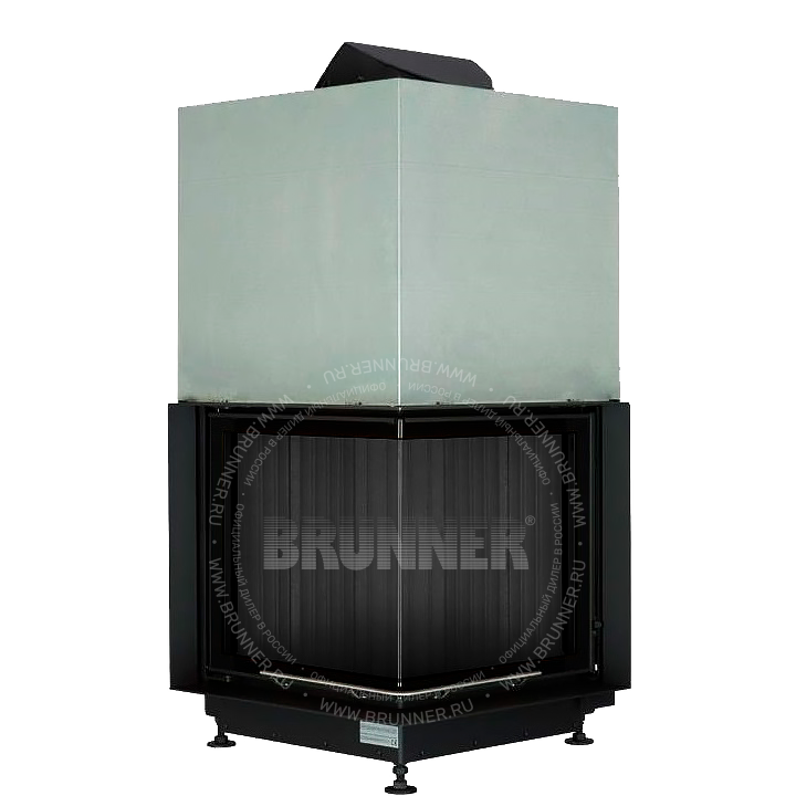 Закрытая угловая каминная топка BRUNNER Eck-Kamin 51/52/52 Black с подъемом
