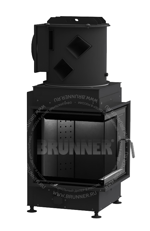 Закрытая угловая каминная топка BRUNNER Eck-Kamin 42/42/42 Eck Black с боковым открыванием-1