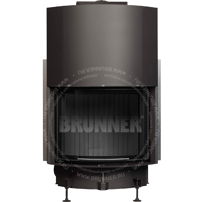 Закрытая полукруглая каминная топка BRUNNER Kompakt-Kamin 51/67 Round Classic с подъемом