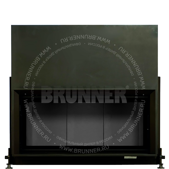 Закрытая прямая каминная топка BRUNNER Architektur-Kamin 45/101 Flat Black с подъемом