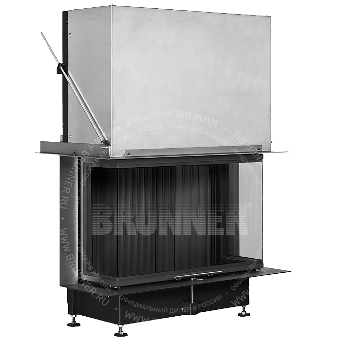 Закрытая панорамная каминная топка BRUNNER Panorama-Kamin 57/25/85/25 Panorama Black с подъемом