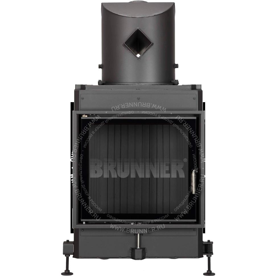 Закрытая прямая каминная топка BRUNNER Kompakt-Kamin 51/55 Flat Black с боковым открыванием